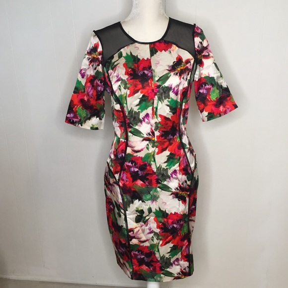 Milly Dresses & Skirts - Milly Dress Sz M Floral Mesh Panels Milly40848